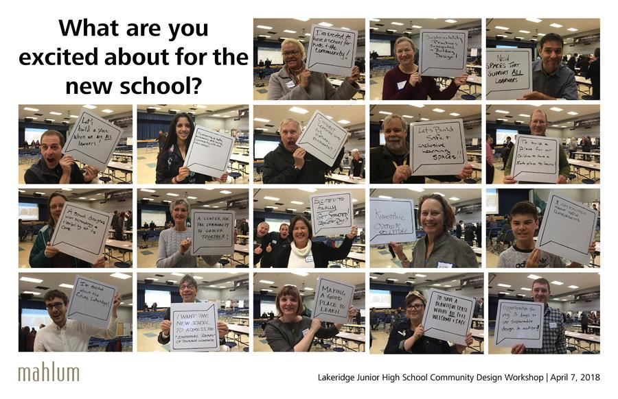 Community members holding signs stating what they wish for in the new junior high