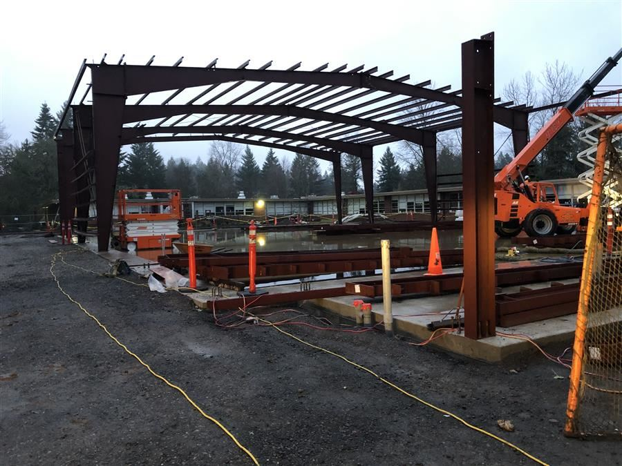 New gym at Lake Oswego Junior High School in progress