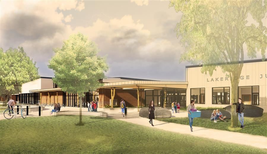 Rendering of new Lakeridge Junior High building showing the entry