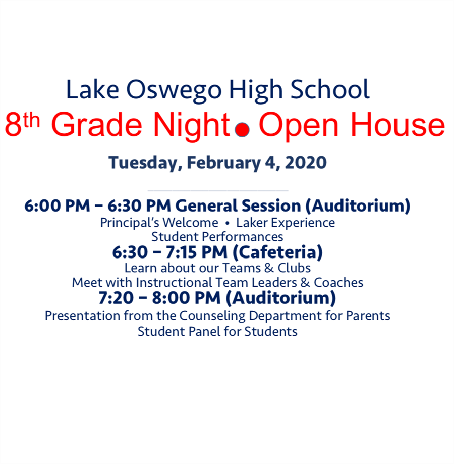 8th Grade Parent Night & Open House