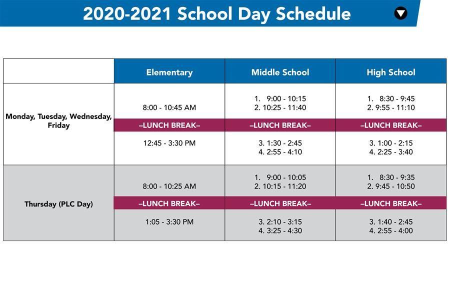 Virtual Learning School Schedule