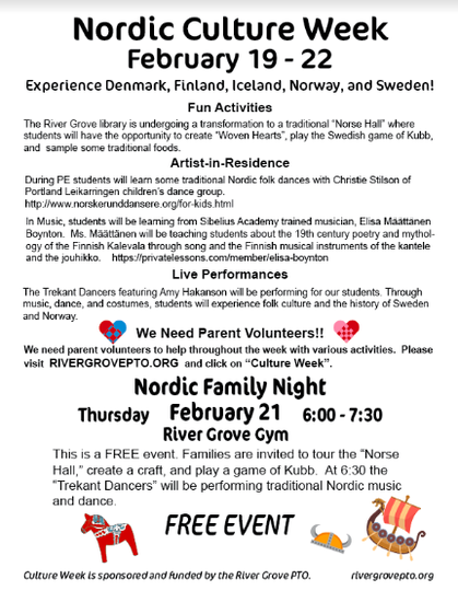 Flyer with information on Nordic Culture week