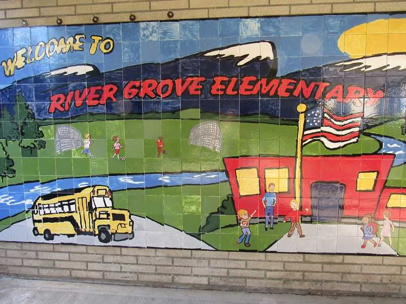 mural of school and bus with children