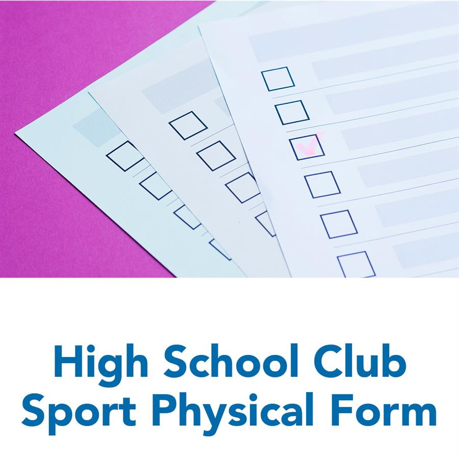 High School Club Sport Physical Form
