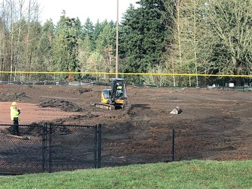 girls varsity softball field in progress