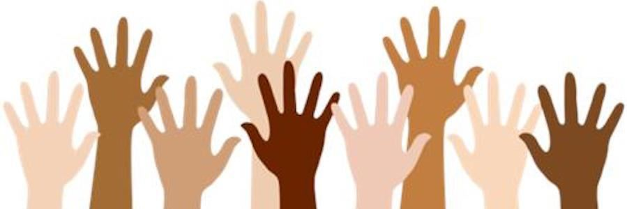 Graphic of children's raised hands